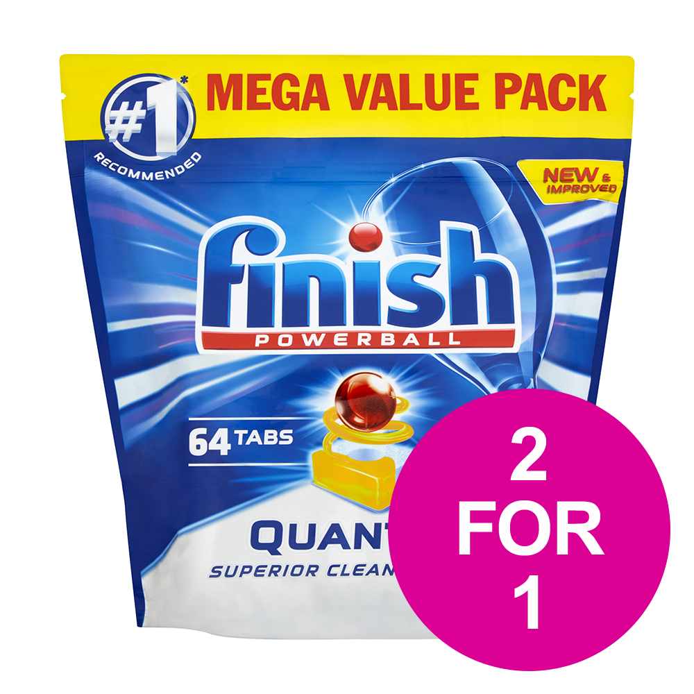 Dishwashing products Finish Quantum Dishwasher Powerball Tablets All-in-1 Lemon Ref RB791158 [Pack 64] [2 for 1] Jan-Mar 2020