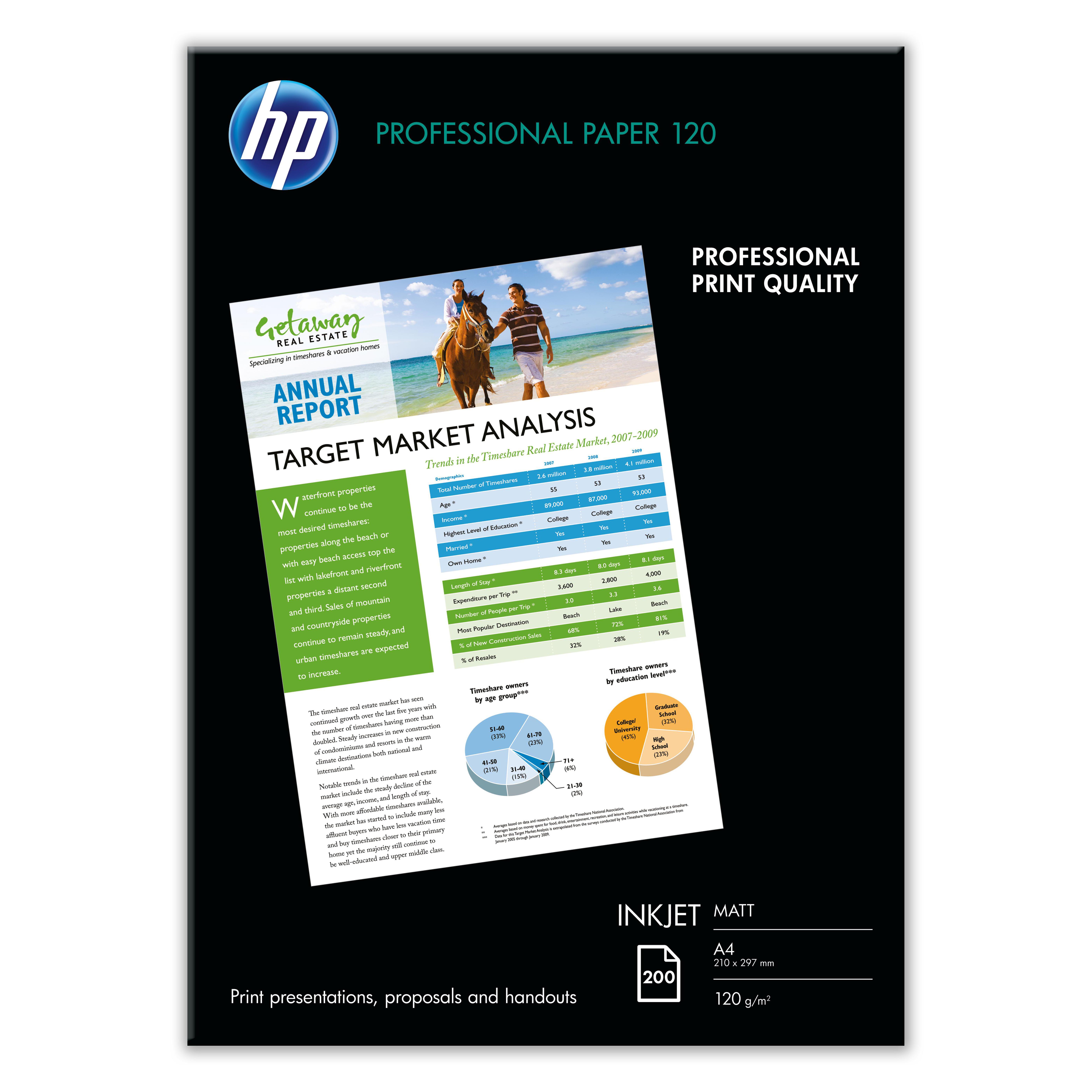 Hewlett Packard [HP] Professional Inkjet Paper Matt 120gsm A4 Ref Q6593A [200 Sheets]
