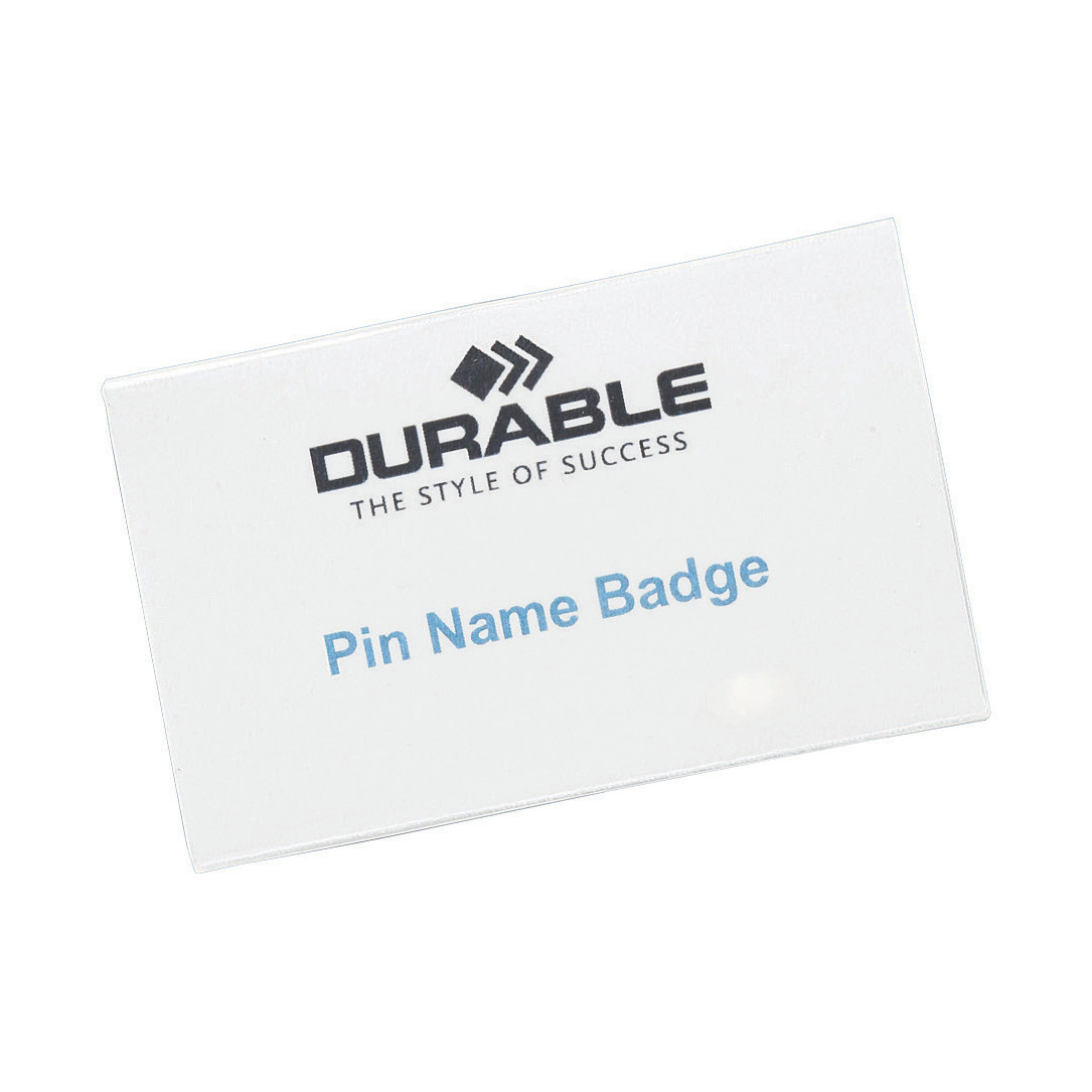 Badges or badge holders Durable Name Badges with Pin 40x75mm Ref 8008 [Pack 100]