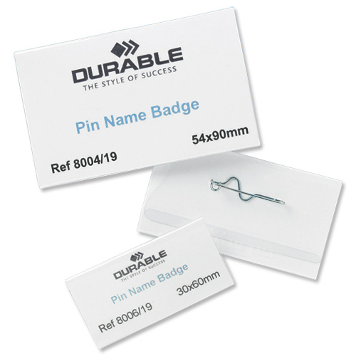 Durable Name Badges with Pin 40x75mm Ref 8008 Pack 100