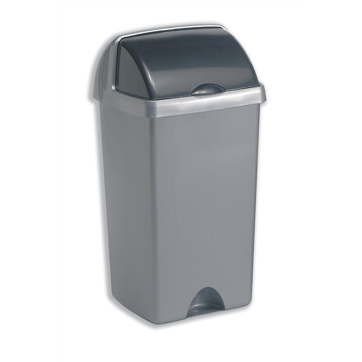 Non metallic bins Addis Roll Top Bin Plastic 50 Litres Metallic Silver