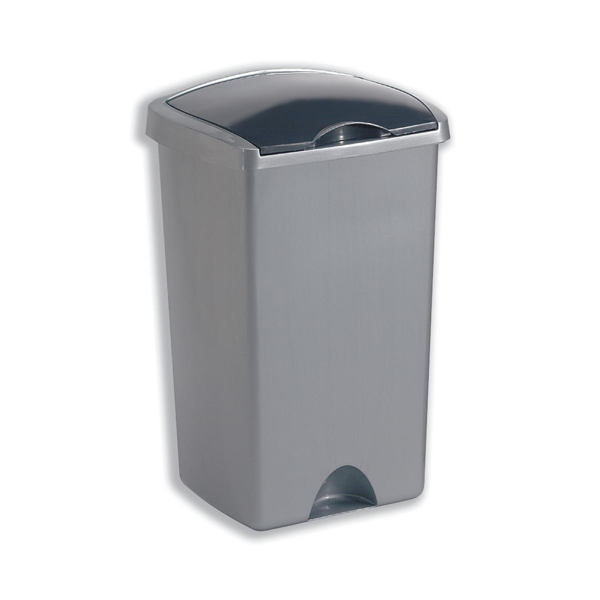 Non metallic bins Addis Lift Up Lid Bin Plastic 50 Litres Metallic Silver Ref 015381