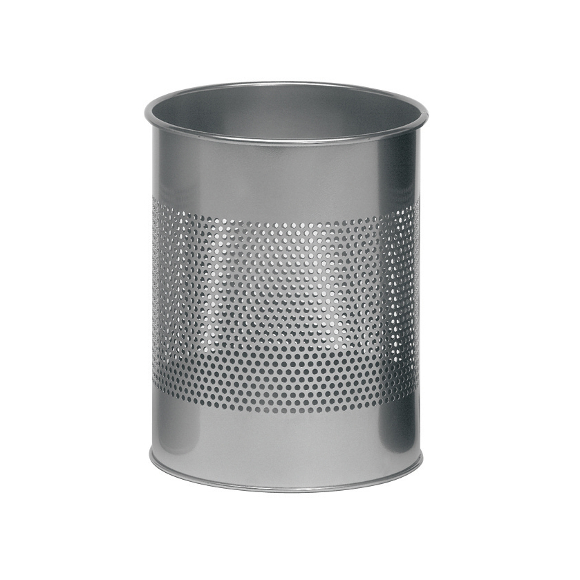 Rubbish Bins Durable Bin Round Metal Perforated 15 Litre Capacity 165mm Rim Metallic Silver Ref 3310/23