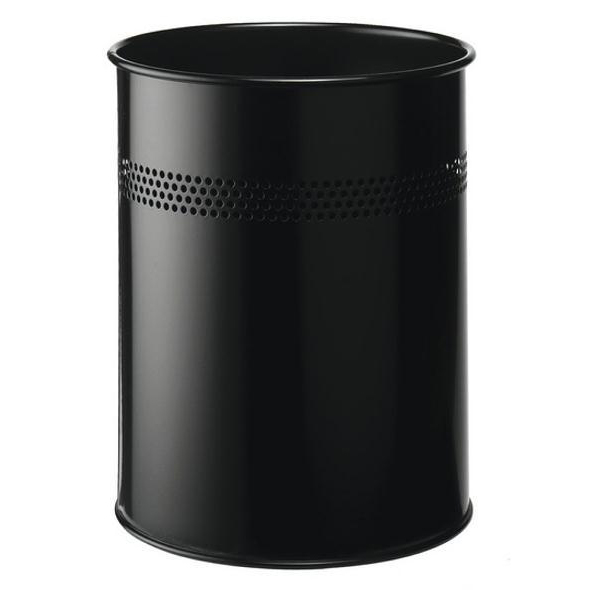 Rubbish Bins Durable Bin Round Metal Perforated 15 Litre Capacity 30mm Rim Black Ref 3300/01