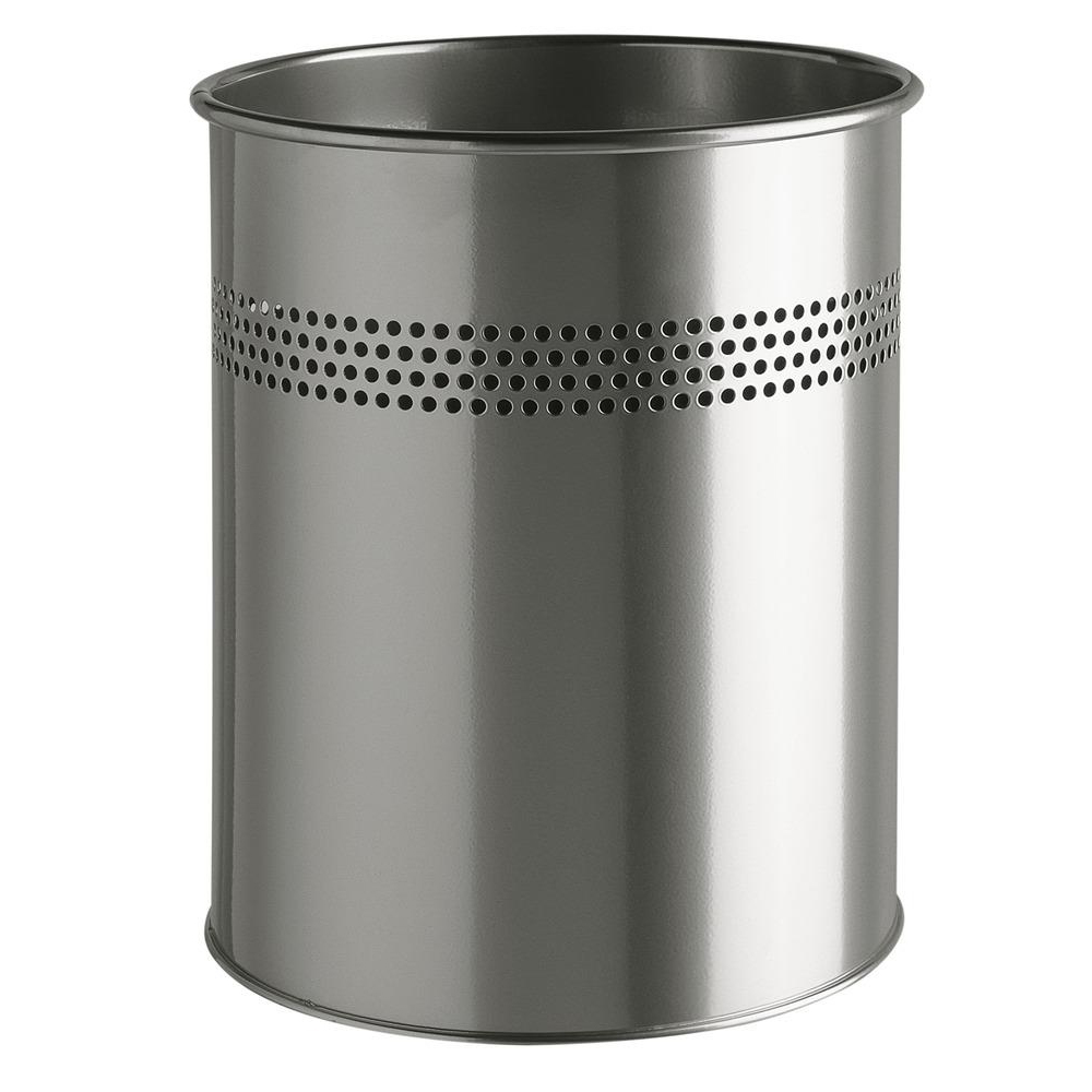 Rubbish Bins Durable Bin Round Metal Perforated 15 Litre Capacity 30mm Rim Metallic Silver Ref 3300/23