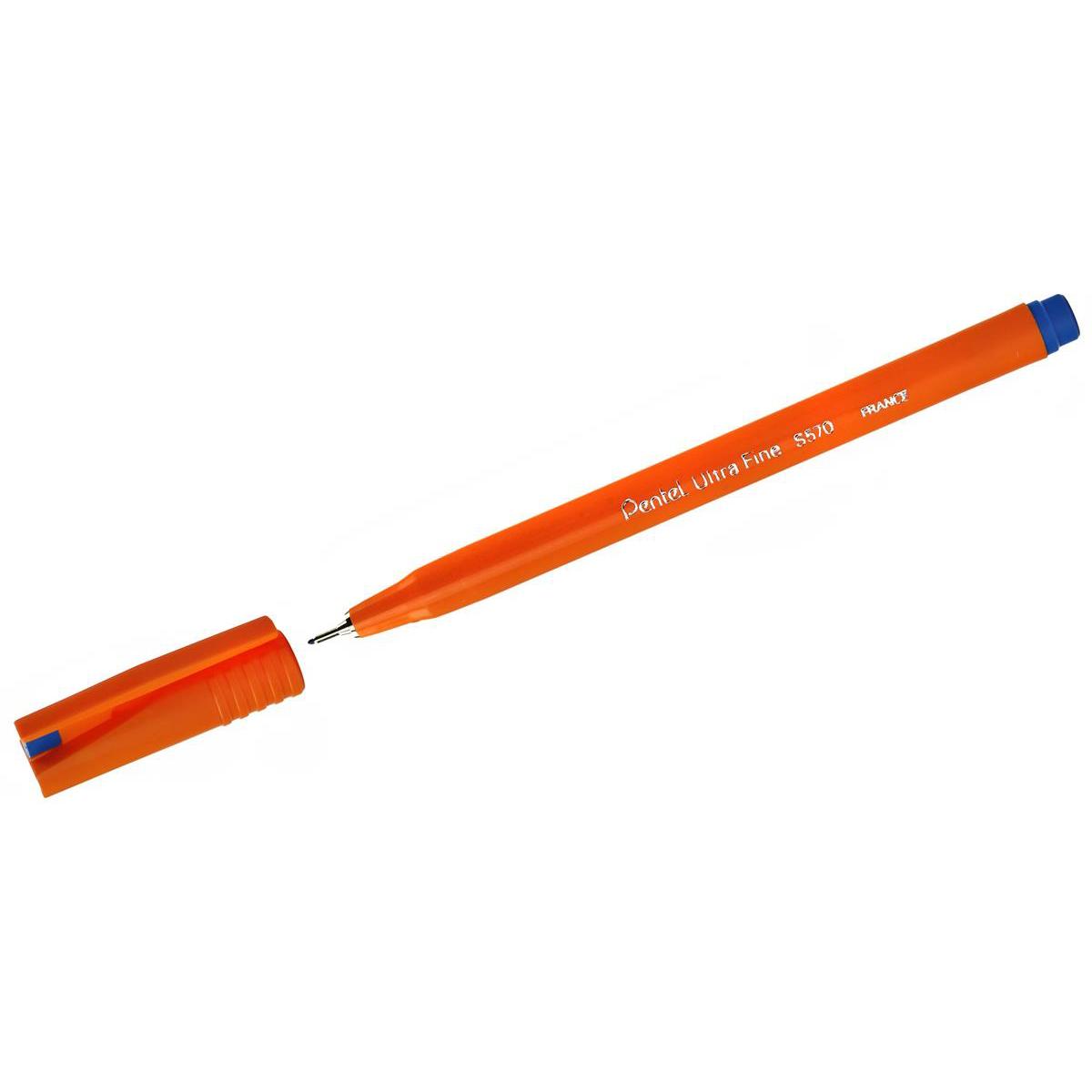Pentel S570 Ultra Fine Pen Plastic 0.6mm Tip 0.3mm Line Blue Ref S570-C [Pack 12]