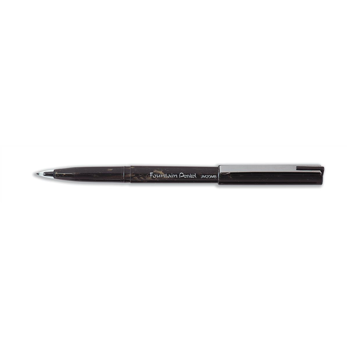 Pentel JM20 Fountain Pen Disposable Dual-sided Fibre-Nib 0.3-0.4mm Line Black Ref JM20MB-A Pack 12