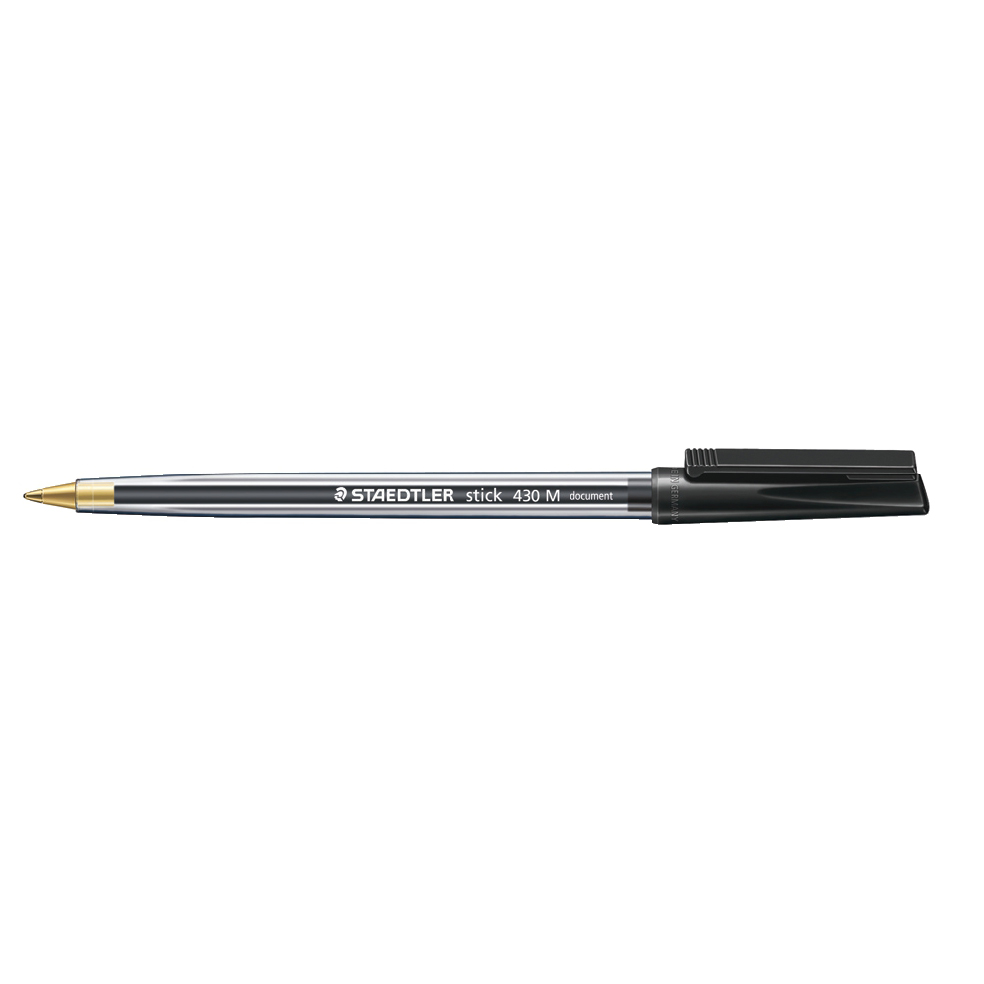 Staedtler 430 Stick Ball Pen Medium 1.0mm Tip 0.35mm Line Black Ref 430M-9 [Pack 10]