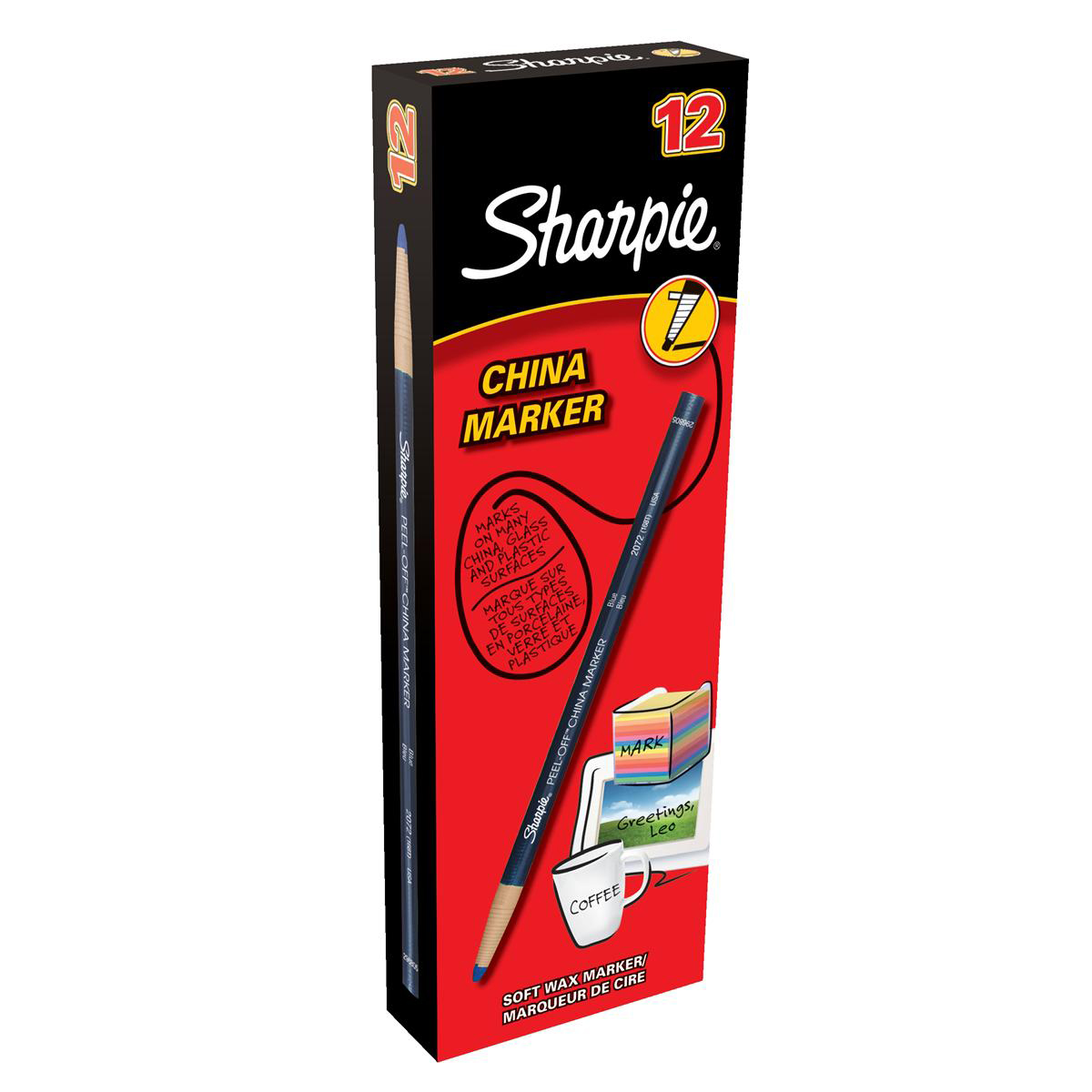 Sharpie China Wax Marker Pencil Peel-off Unwraps to Sharpen Blue Ref S0305091 Pack 12
