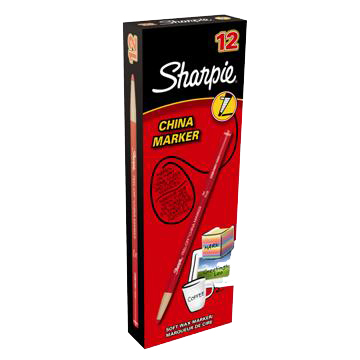 Sharpie China Wax Marker Pencil Peel-off Unwraps to Sharpen Red Ref S0305081 Pack 12