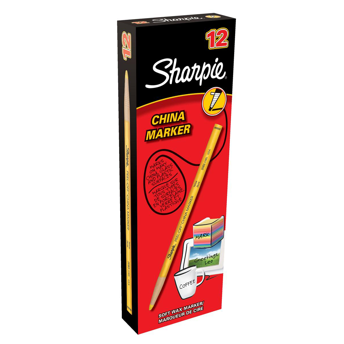 Sharpie China Wax Marker Pencil Peel-off Unwraps to Sharpen Yellow Ref S0305101 Pack 12