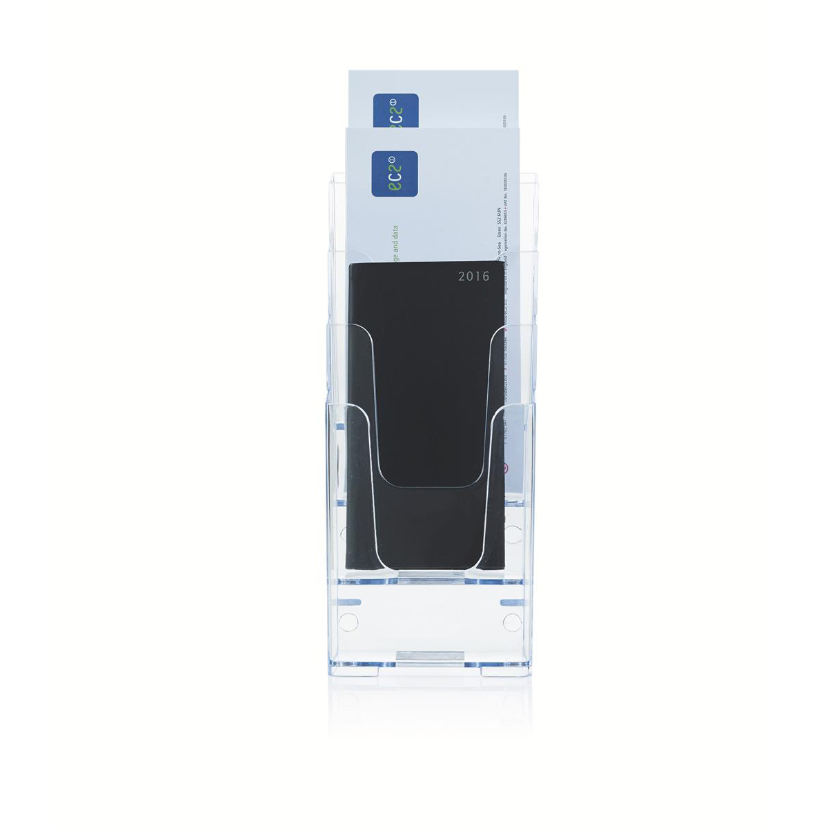 Literature Display Holder Multi Tier for Wall or Desktop 4 x 1/3xA4 Pockets Clear