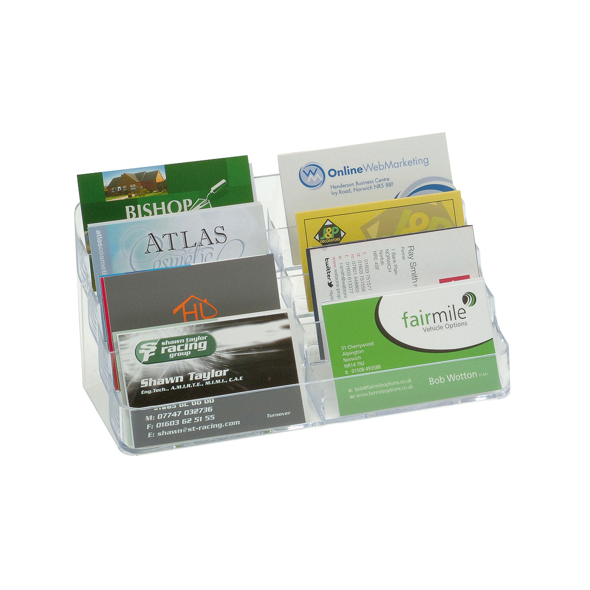 Business Card Holder Desktop 8 Pockets Clear