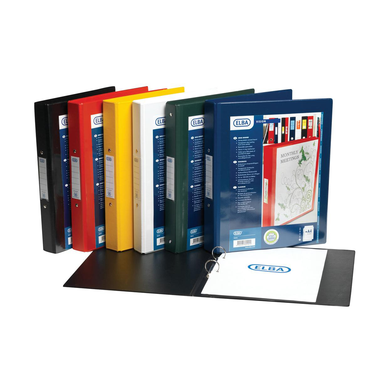 Elba Vision Ring Binder PVC Clear Front Pocket 2 O-Ring Size 25mm A4 Black Ref 100080891 [Pack 10]