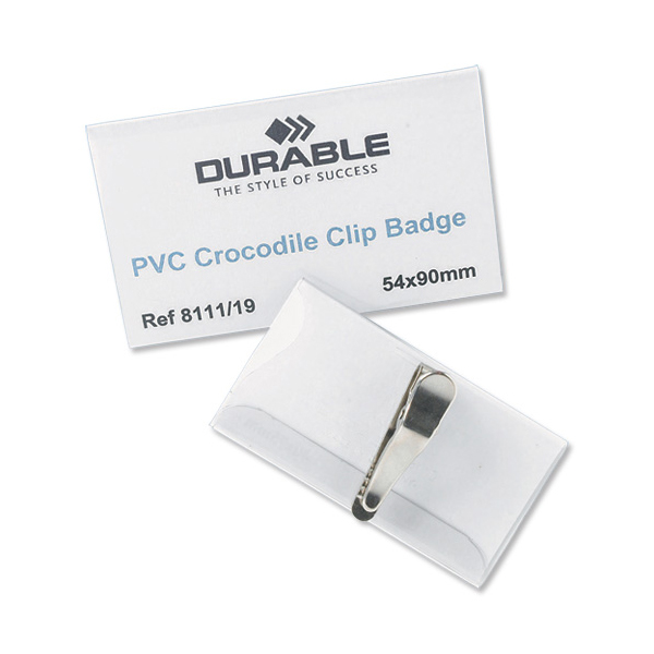 Durable Name Badges with Crocodile Clip 40x75mm Ref 8110 Pack 25