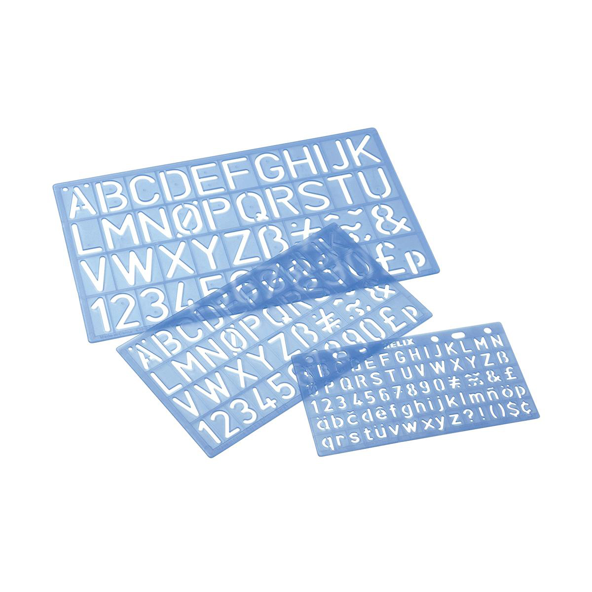Stencils or lettering aids Stencil Pack of Three Templates Letters/Numbers/Symbols 10/20/30mm with PVC Sleeve Blue Tint
