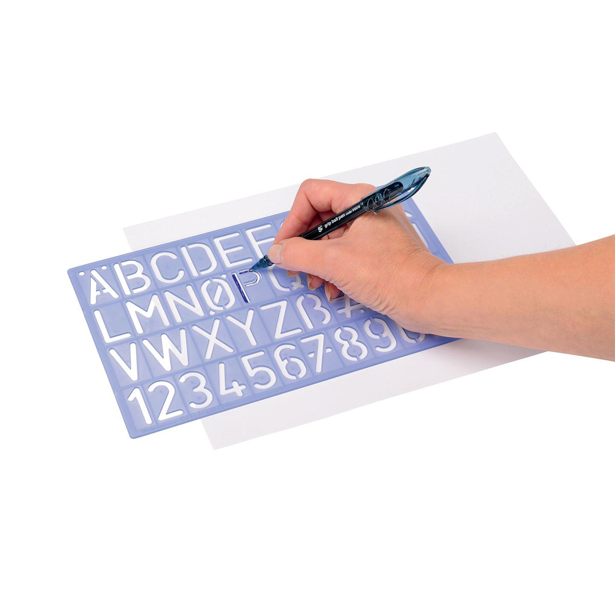 Stencil Pack of Three Templates Letters/Numbers/Symbols ?/p 10/20/30mm with PVC Sleeve Blue Tint