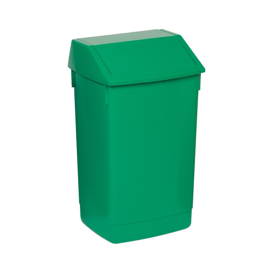 Rubbish Bins Flip Top Bin Composite Plastic 60 Litres Green