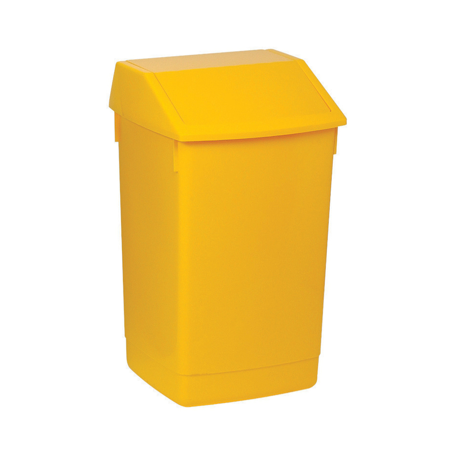 Non metallic bins Flip Top Bin Composite Plastic 60 Litres Yellow