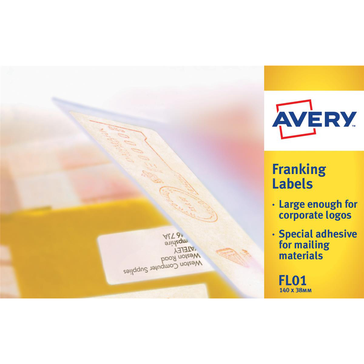 Avery Franking Labels 2 per sheet 140x38mm White Ref FL01 1000 Labels