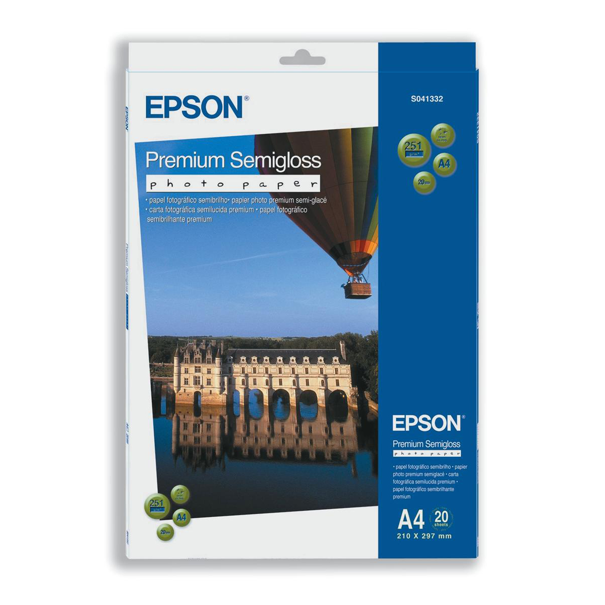 Epson Premium Photo Paper Semi-gloss 251gsm A4 Ref C13S041332 20 Sheets