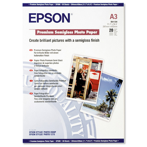 Epson Premium Photo Paper Semi-gloss 251gsm A3 Ref C13S041334 20 Sheets