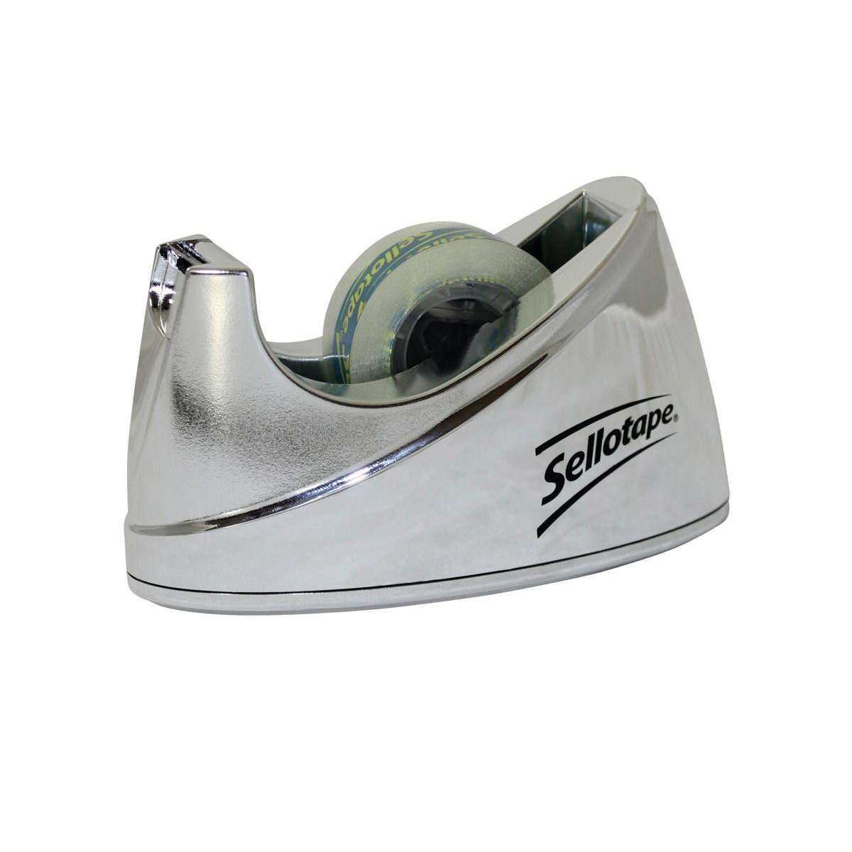 Sellotape Tape Dispenser Small Desktop Non-slip Roll Capacity 19mm Width 33m Length Chrome Ref 4529