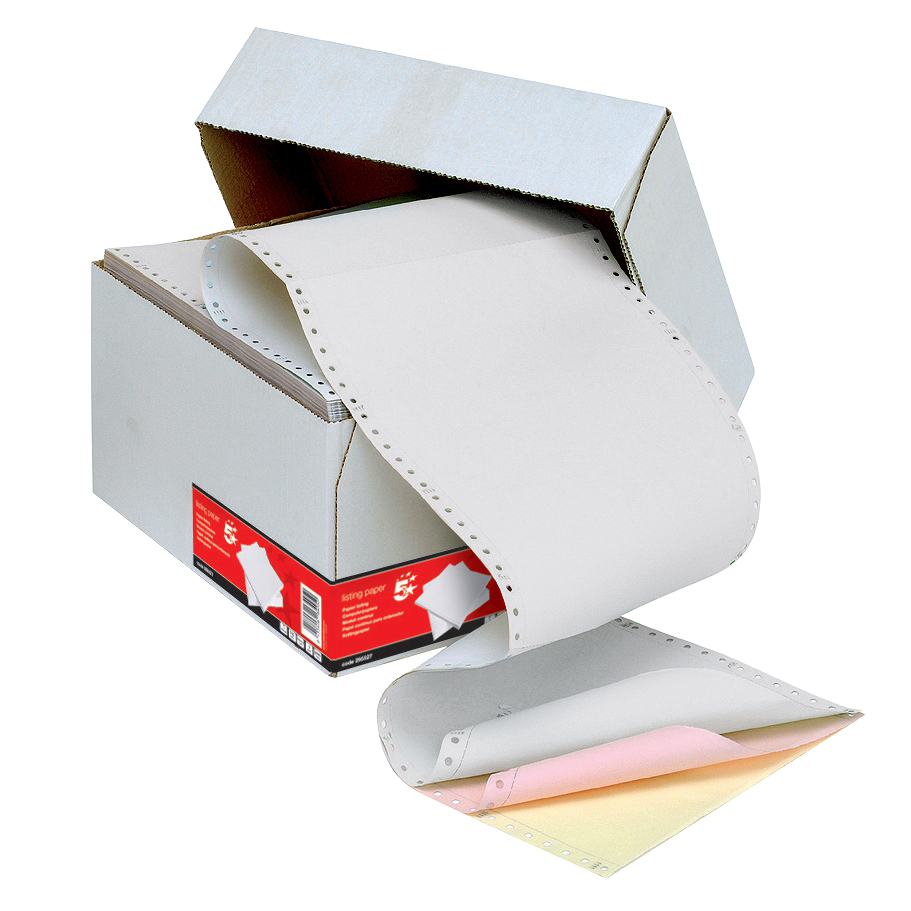 5 Star Office Listing Paper 3-Part Carbonless Microperf 80/58/57gsm A4 White/Pink/Yellow 700 Sheets