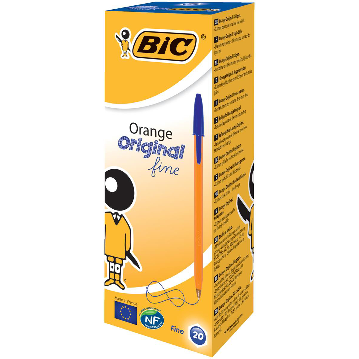 Bic Orange Ball Pen Fine 0.8mm Tip 0.3mm Line Blue Ref 1199110111 [Pack 20]