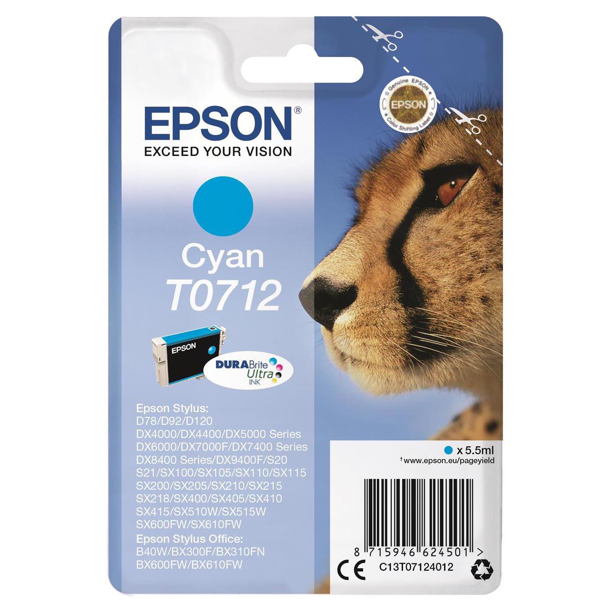 Epson T0712 Inkjet Cartridge Cheetah Page Life 495pp 5.5ml Cyan Ref C13T07124012
