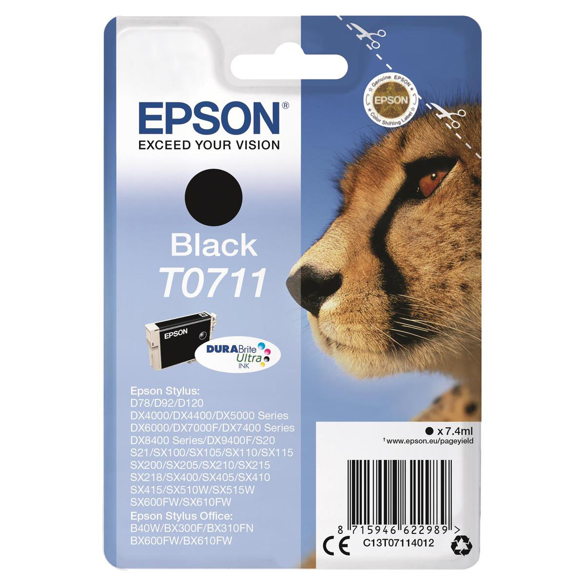 [ SP ] Epson T0711 Inkjet Cartridge Cheetah Page Life 250pp 7.4ml Black Ref C13T07114012