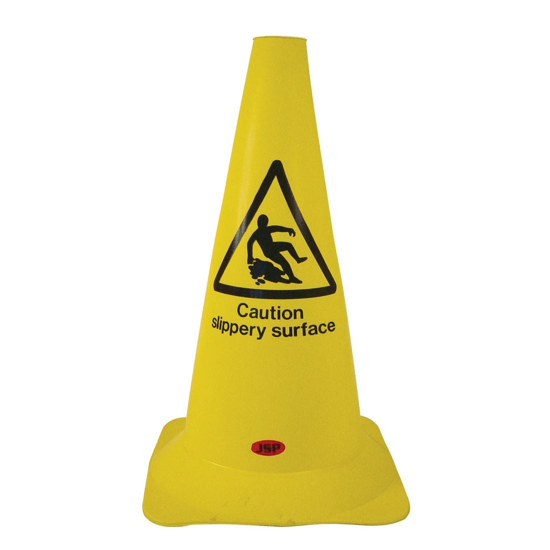 Warning Safety Cone PVC Caution Slippery Surface H500mm Yellow/Black text