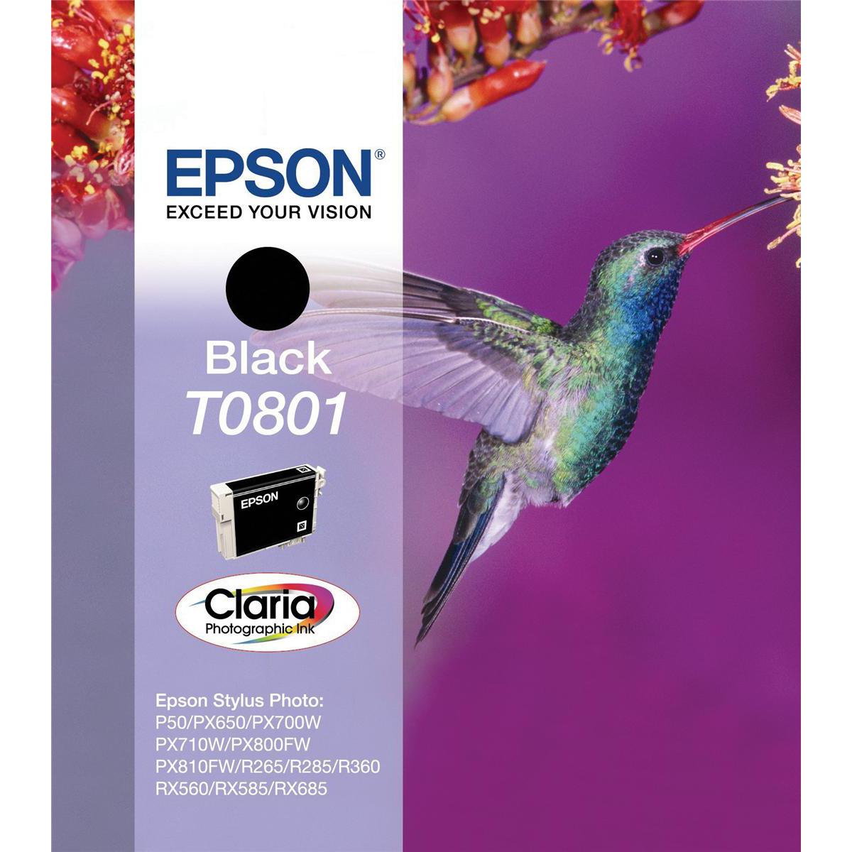 Inkjet Cartridges Epson T0801 Inkjet Cartridge Hummingbird Page Life 300pp 7.4ml Black Ref C13T08014011