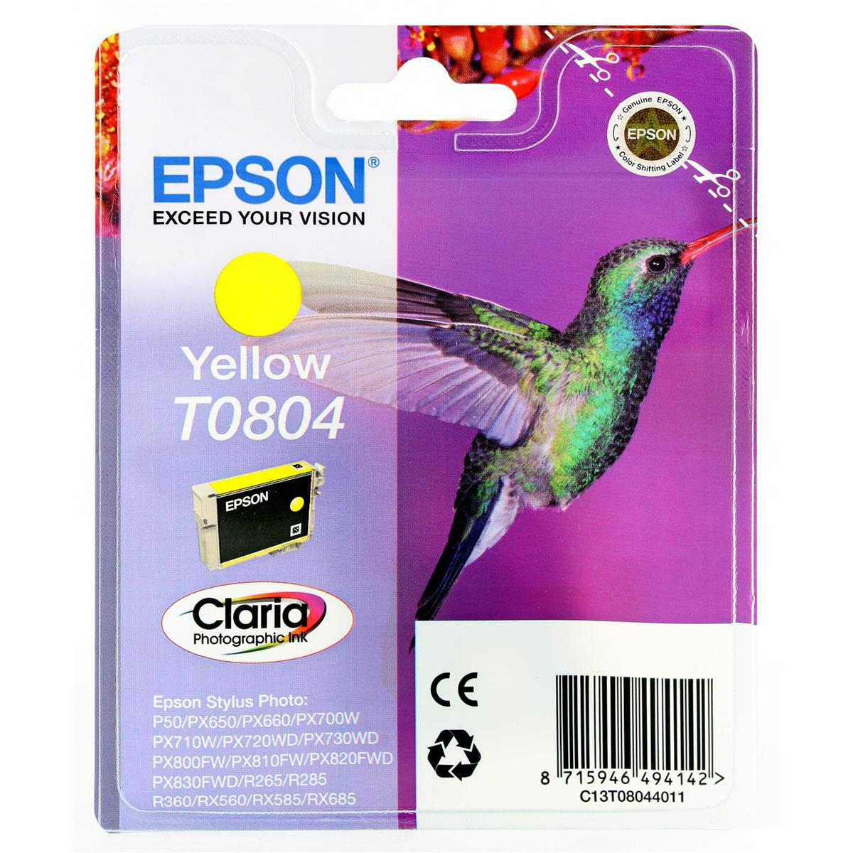 Epson T0804 Inkjet Cartridge Hummingbird Page Life 460pp 7.4ml Yellow Ref C13T08044011