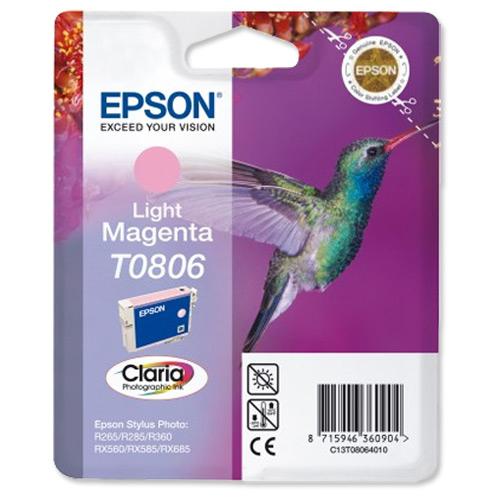 Inkjet Cartridges Epson T0806 Inkjet Cartridge Hummingbird Page Life 590pp 7.4ml Light Magenta Ref C13T08064011