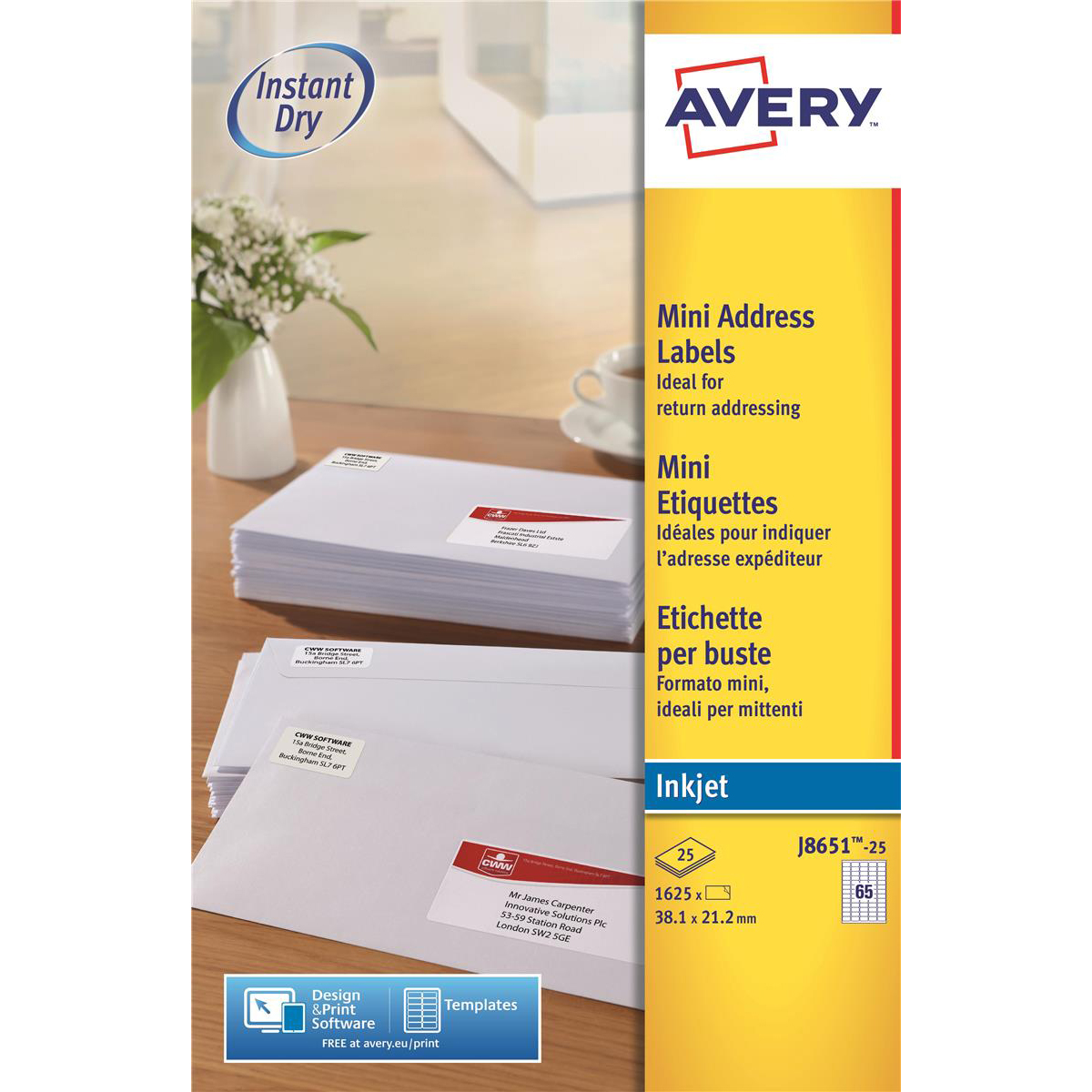 Address Avery Mini Address Labels Inkjet 65 per Sheet 38.1x21.2mm White Ref J8651-25 1625 Labels
