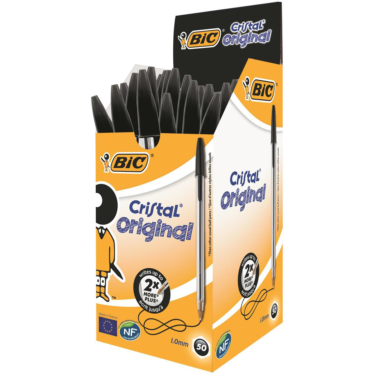 Bic Cristal Ball Pen Clear Barrel 1.0mm Tip 0.32mm Line Black Ref 8373632 [Pack 50]