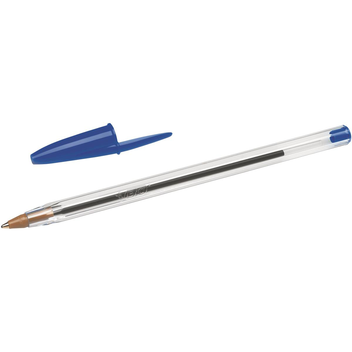 Bic Cristal Ball Pen Clear Barrel 1.0mm Tip 0.32mm Line Blue Ref 8373602 Pack 50