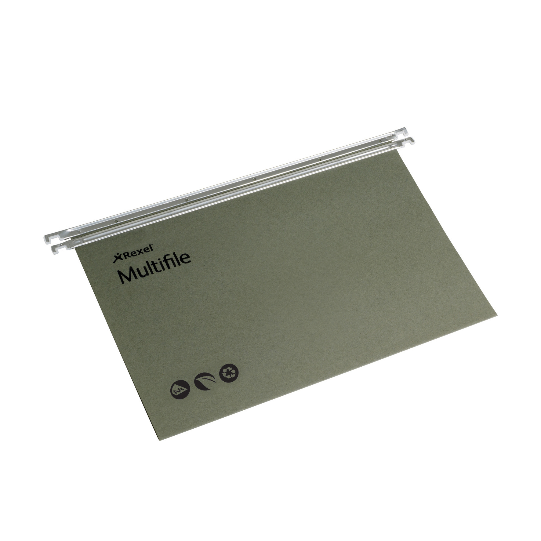 Rexel Multifile Suspension File Manilla 15mm V-base 180gsm A4 Green Ref 78617 [Pack 50]