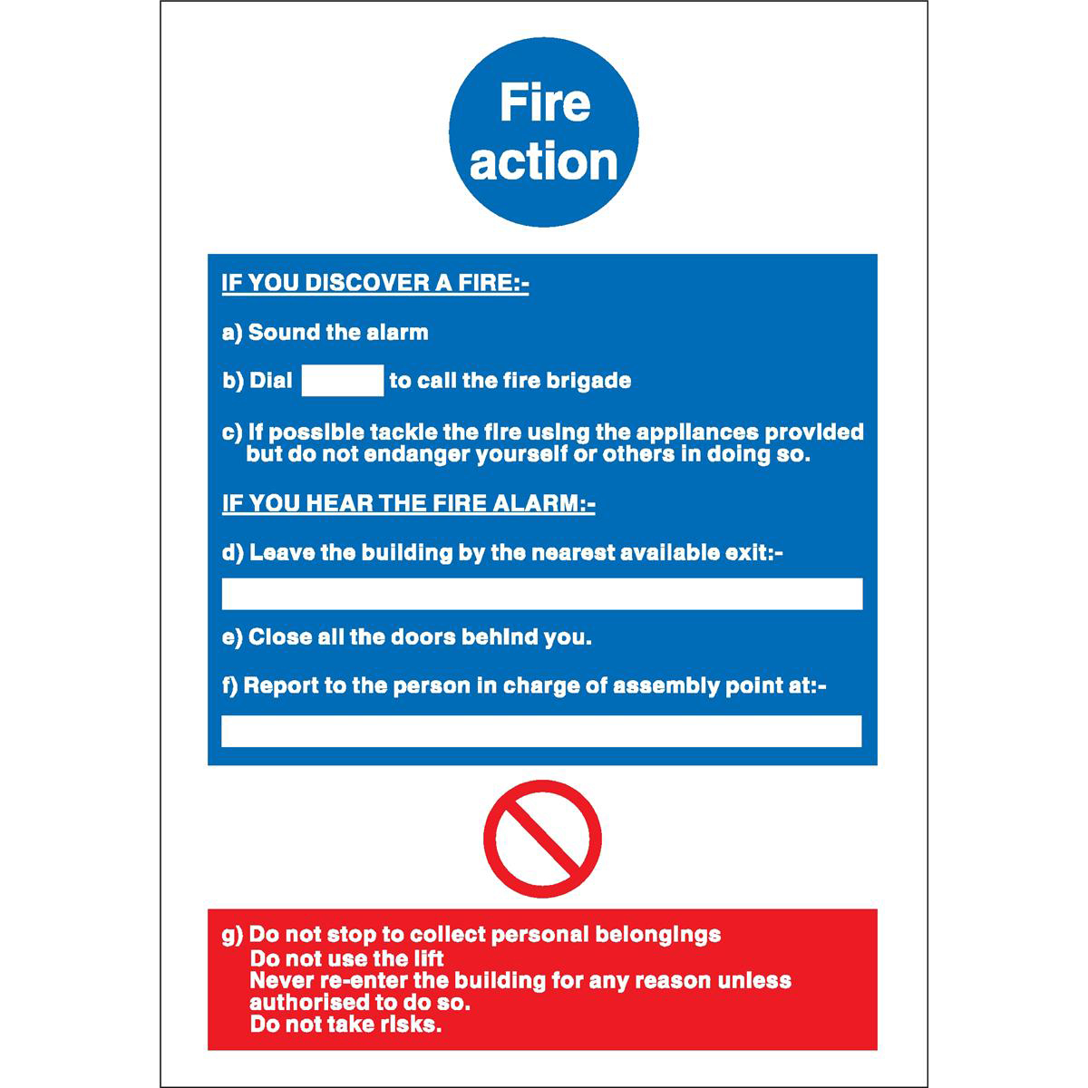 Fire Stewart Superior Fire Action / If you discover fire Sign W210xH297mm Self-adhesive Vinyl Ref NS017SAV