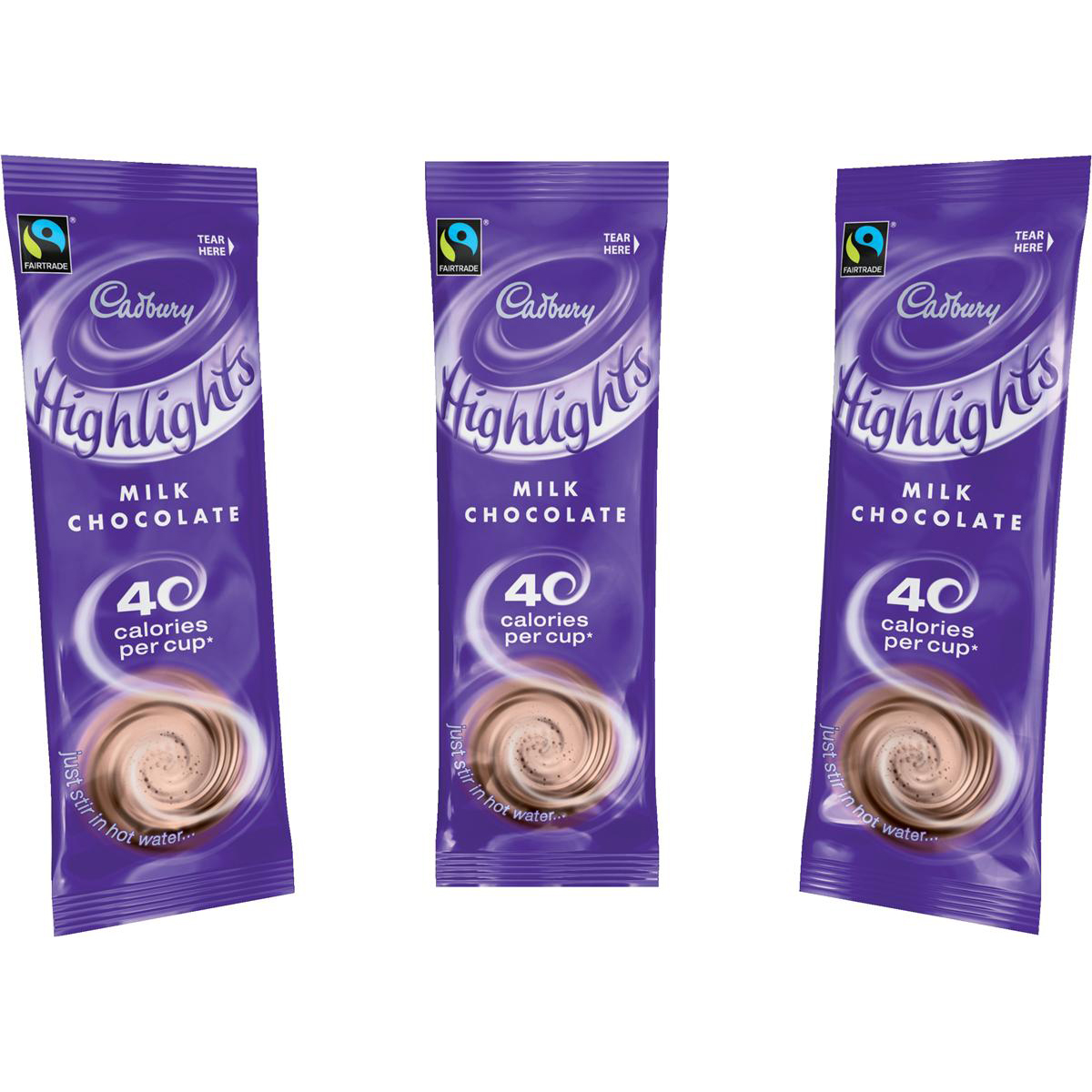 Chocolate or malt or other hot beverages Cadbury Chocolate Highlights Fairtrade Hot Chocolate Powder Sachets Low Calorie Ref 0403173 Pack 30