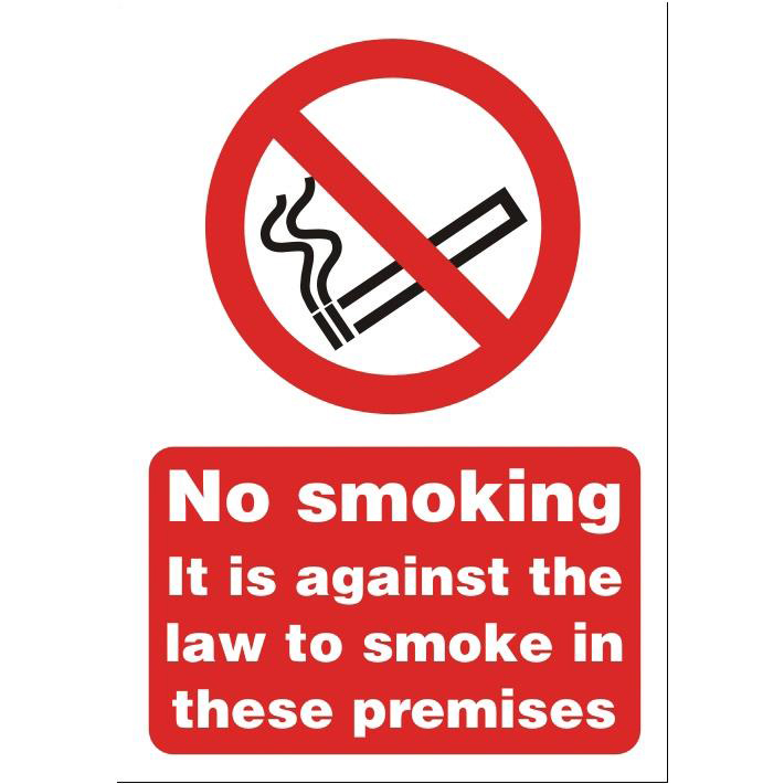Smoking Stewart Superior No Smoking on Premises Sign A5 Self-adhesive Vinyl Ref SB003SAV
