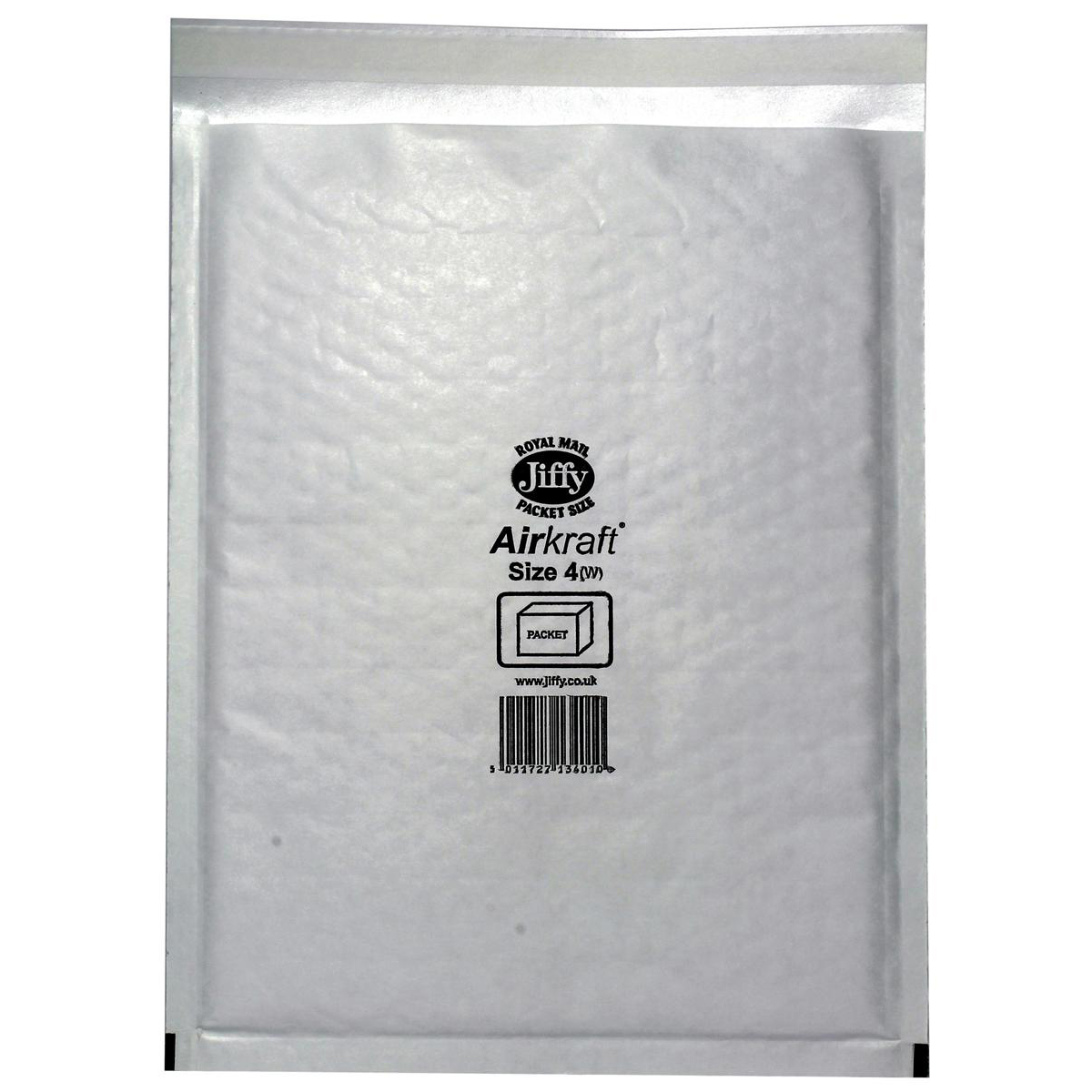 Jiffy Airkraft Postal Bags Bubble-lined Size 4 Peel and Seal 240x320mm White Ref JL-4 [Pack 50]