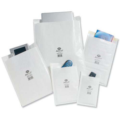 Jiffy Airkraft Postal Bags Bubble-lined Size 4 Peel and Seal 240x320mm White Ref JL-4 Pack 50