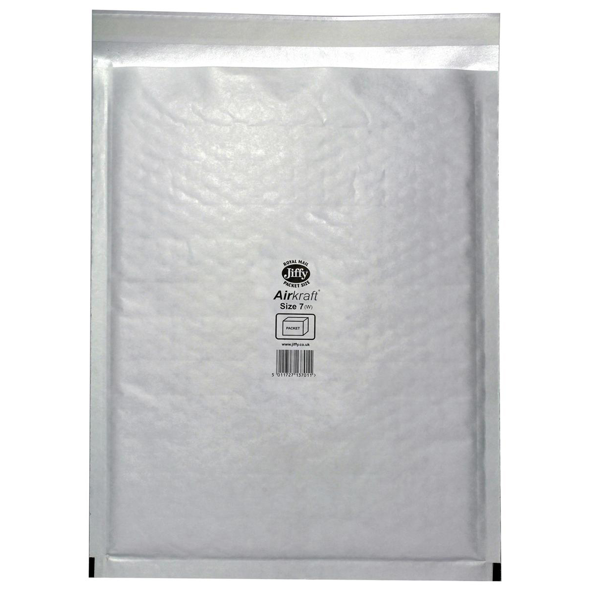 Jiffy Airkraft Postal Bags Bubble-lined Peel and Seal Size 7 White 340x445mm Ref JL-7 Pack 50