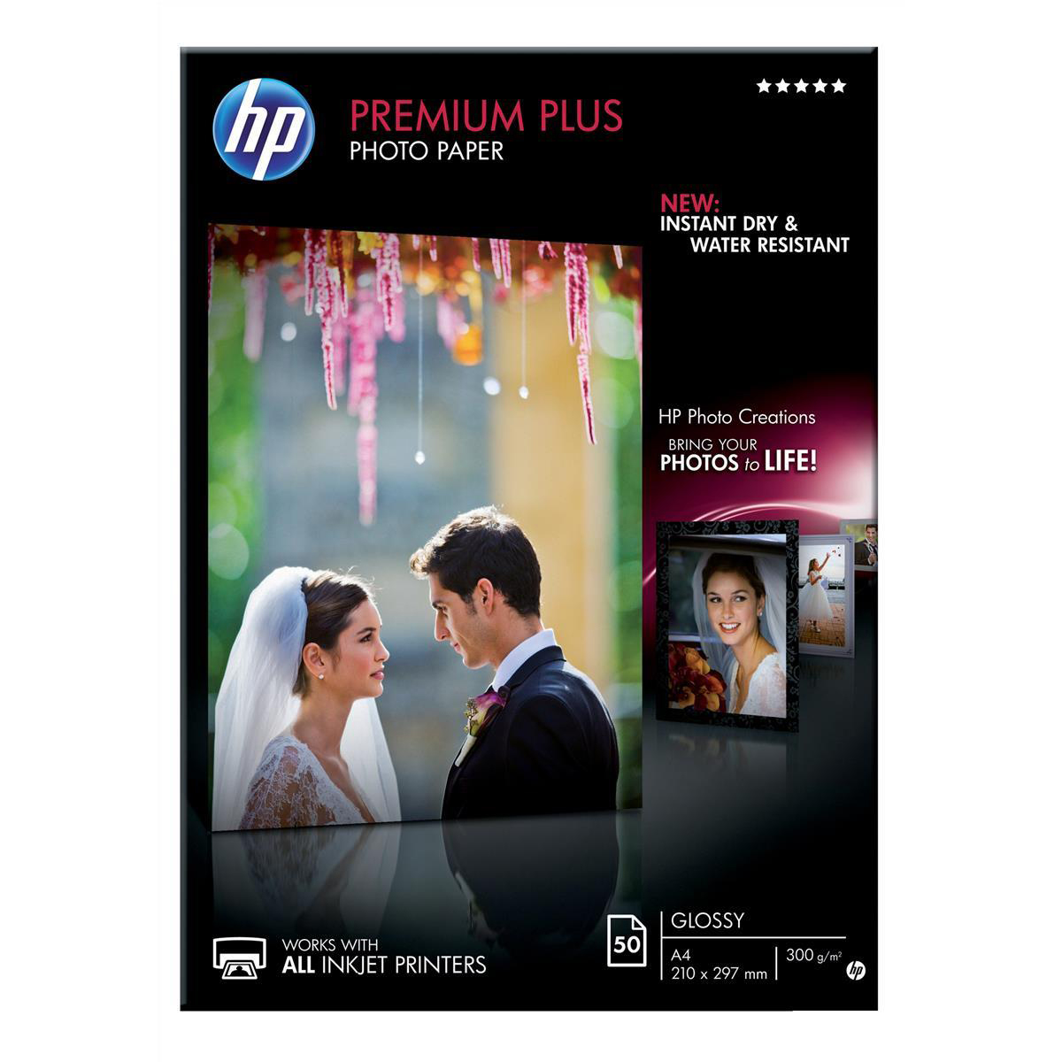 Hewlett Packard HP Premium Plus Photo Paper Glossy 300gsm A4 Ref CR674A 50 Sheets