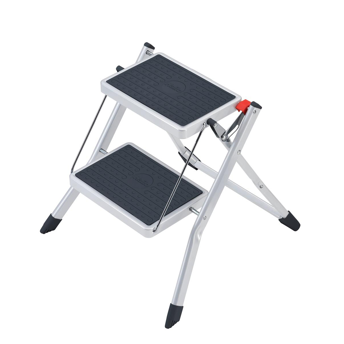 Step stool 5 Star Facilities Mini Stool/Ladder Two Step Steel Folding Single Sided Load Capacity 150kg