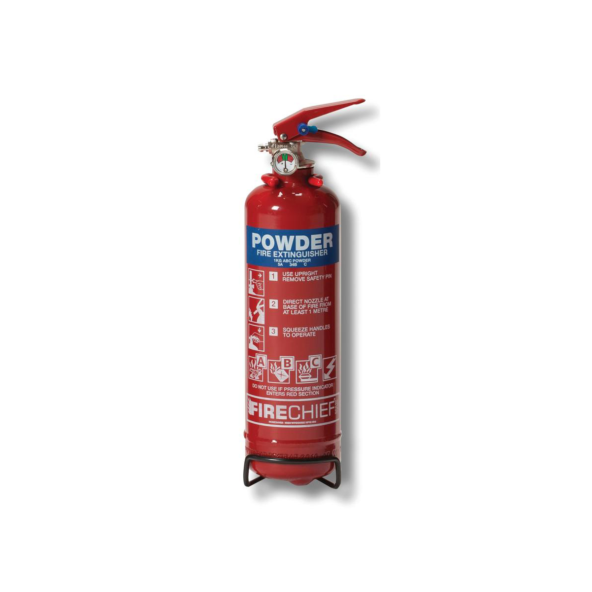 Fire extinguishers IVG 1.0KG Powder Fire Extinguisherfor Class A B and C Fires Ref WG10116