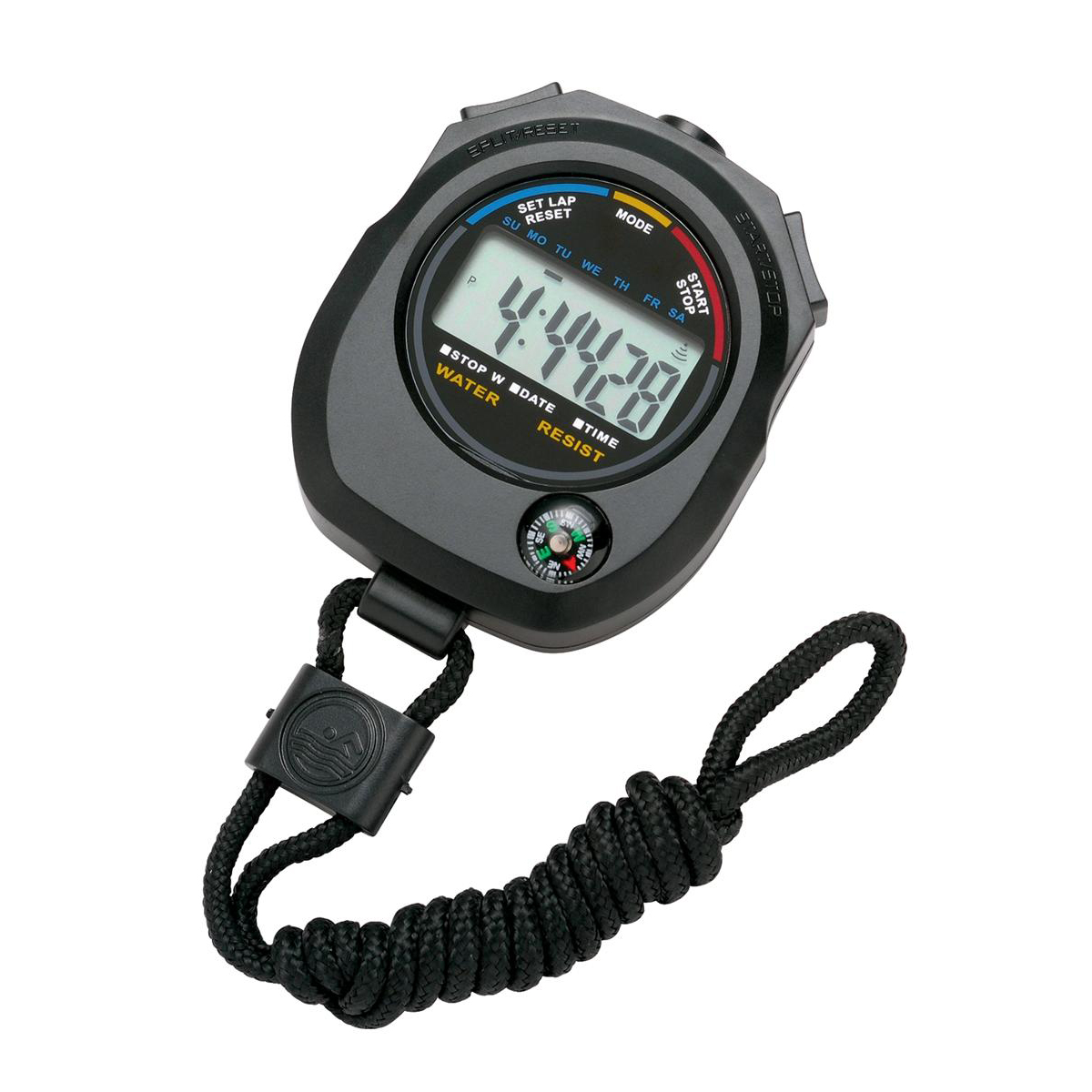 Stopwatch Stopwatch Water Resistant Battery Operated Black