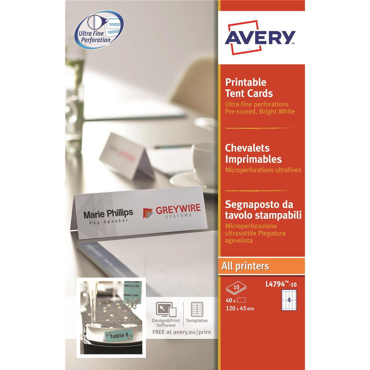 Avery Printable Business Tent Card 4 per Sheet 120x45mm 190gsm White Ref L4794-10 40 labels